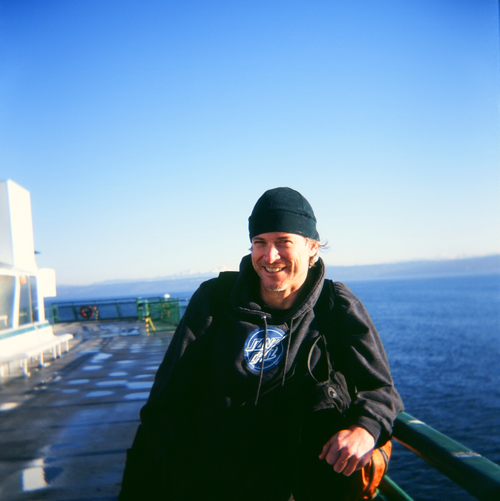 Ricky and holga on ferry