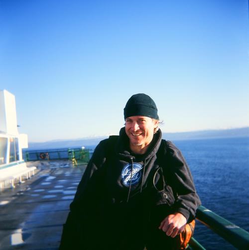 Ricky and holga on ferry
