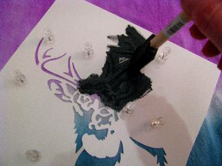 Tie dye - stencil deer in action